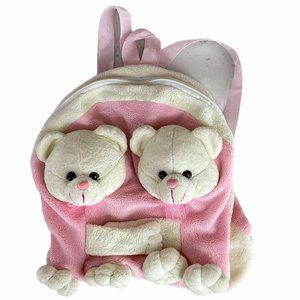 Kids White and Pink Round Zipper Soft Backpack